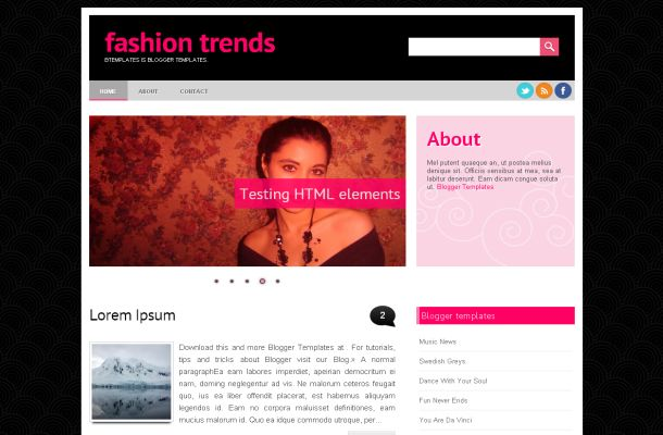 Free Blogger Sexy Pink Black Grunge Fashion Jquery Web 2.0 Layout Theme ...