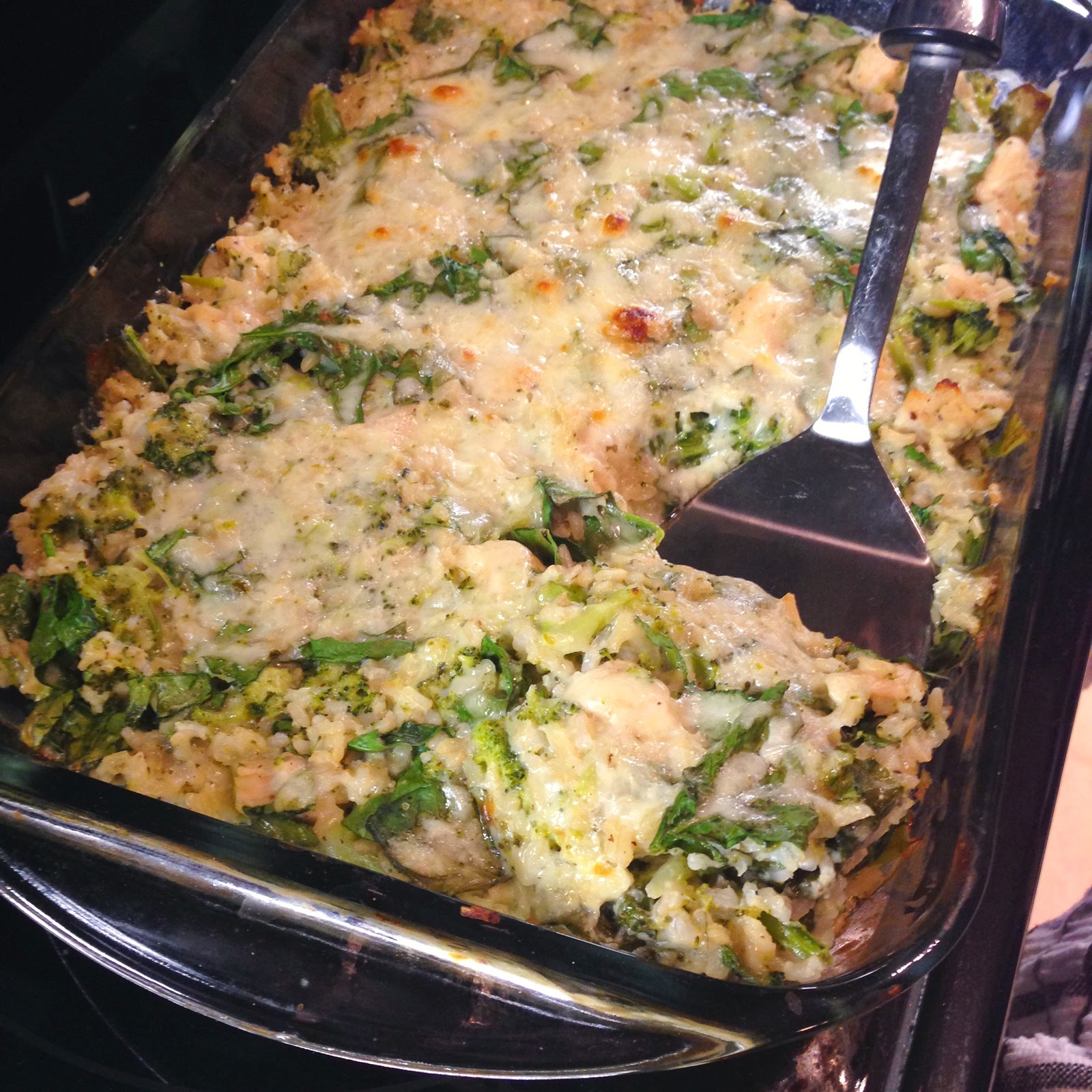 Broccoli, chicken, spinach, and rice casserole