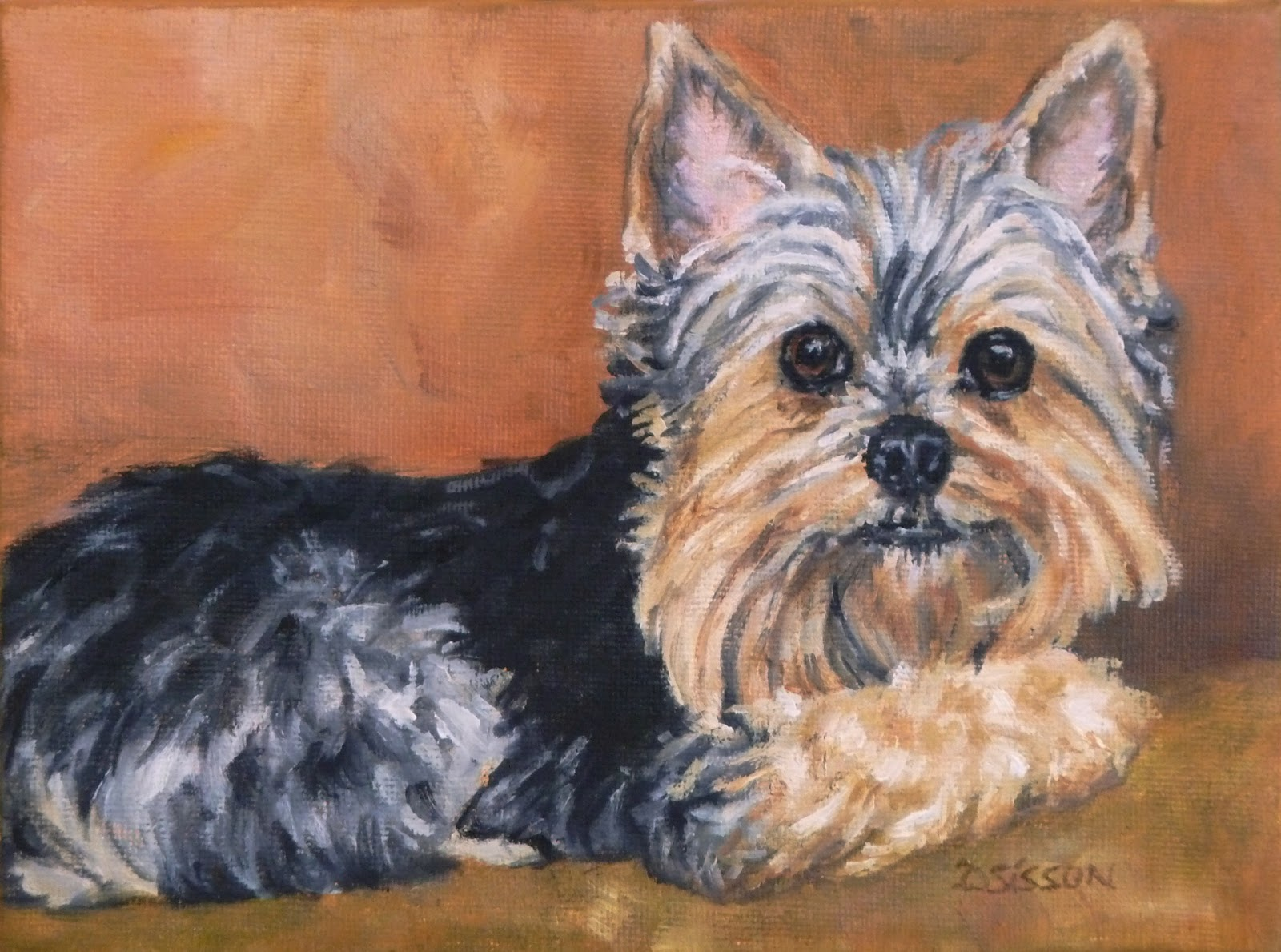 ... enjoy painting the rich coloring of black tan and silver yorkies if
