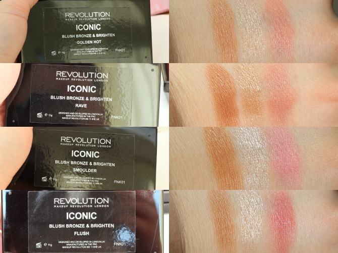Makeup Revolution Blush, Bronzer & Brighten Palette swatches