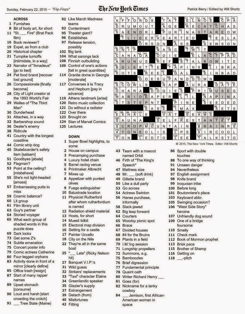 The New York Times Crossword In Gothic February 2015
