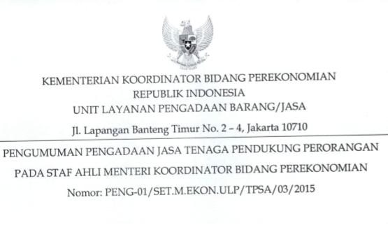 Lowongan Kementeriaan Koordinator Bidang Perekonomian Non CPNS