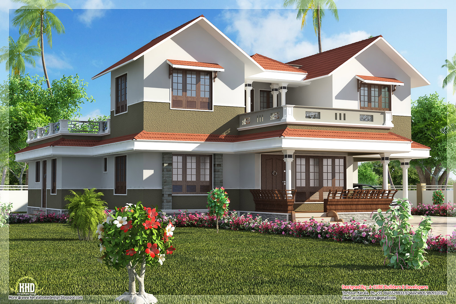Beautiful villa elevation in 2600 home appliance for Beautiful villa design