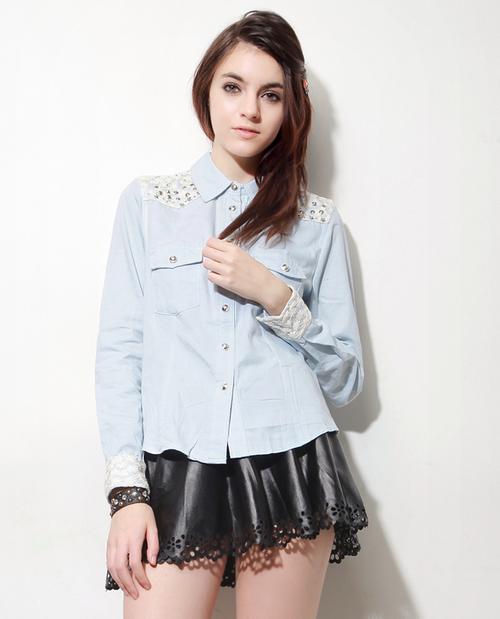 Studded Lace Denim Shirt