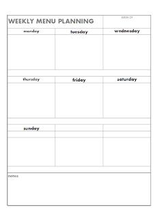 Blank weekly menu planning page free printable