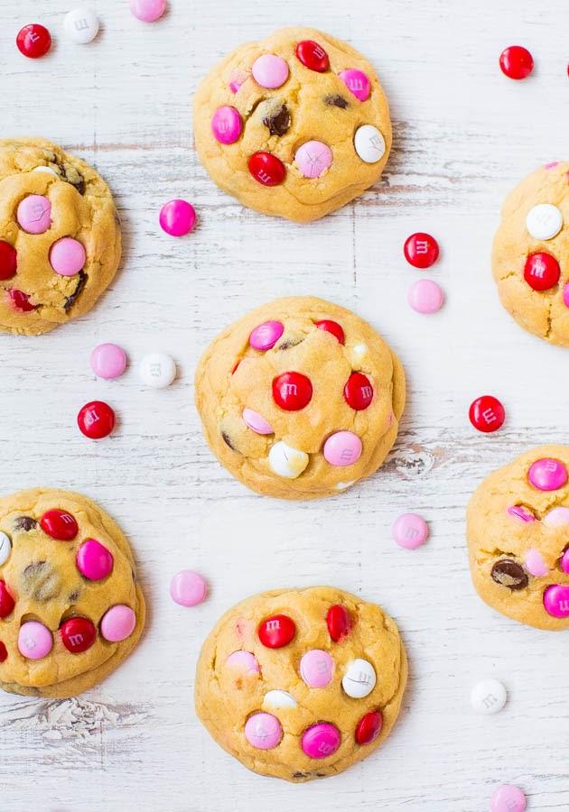 Valentine's desserts, Soft M&M Chocolate Chip Cookies   recipe via averiecooks