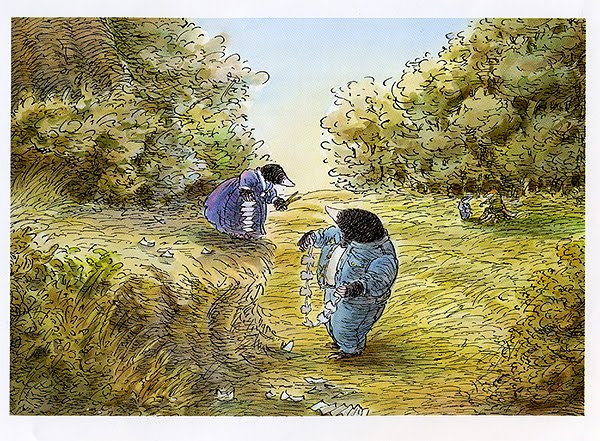 Middle of nowhere thoroughly modern milly here mole is passing on the gift of making paper chain moles which badger in turn taught him and finding myself with pencil but without sketch book fandeluxe Images