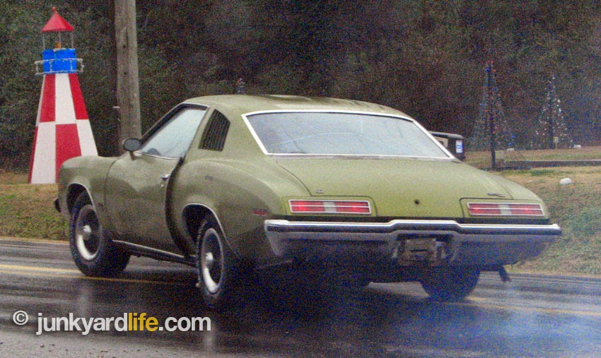 Proving that a mothballed 1973 Grand Am is road worthy in the rain.
