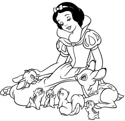 Dibujo de Blancanieves con animales para colorear pintar