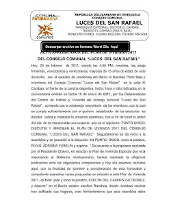 """ACTA APROBATORIA DEL PLAN DE VIVIENDA 2011DEL CONSEJO COMUNAL """"LUCES DEL SAN RAFAEL"""