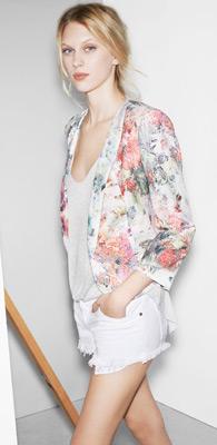 Zara trf verano 2013 short blanco chaqueta estampado floral