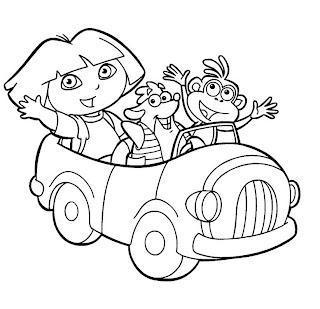 dora the explorer, car coloring pages