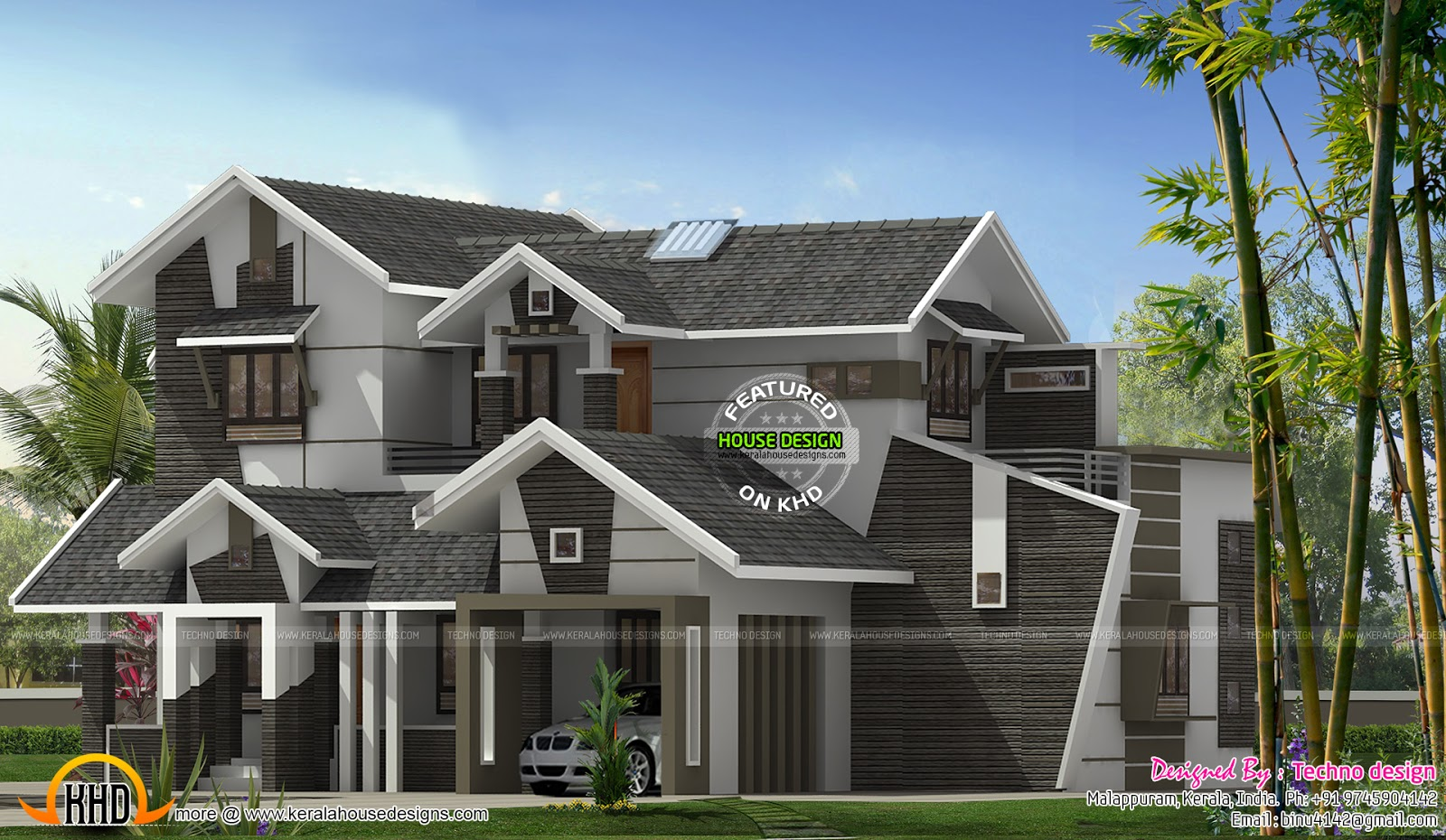 Unique 5 bhk contemporary house kerala home design and for Unique modern house designs