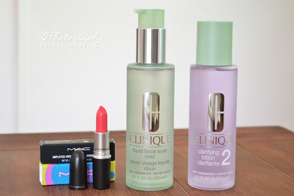 MAC Watch Me Simmer, Clinique liquid facial soap, clarifying lotion