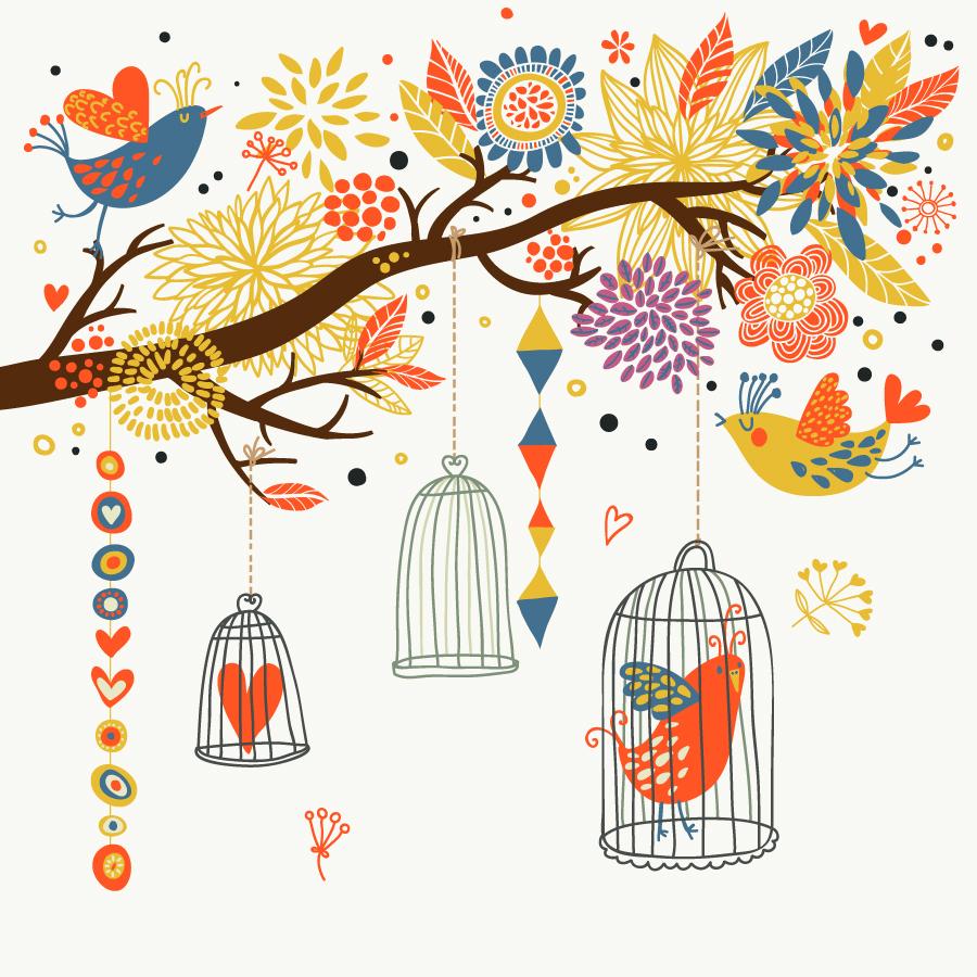 籠の鳥 cartoon Bird cage イラスト素材