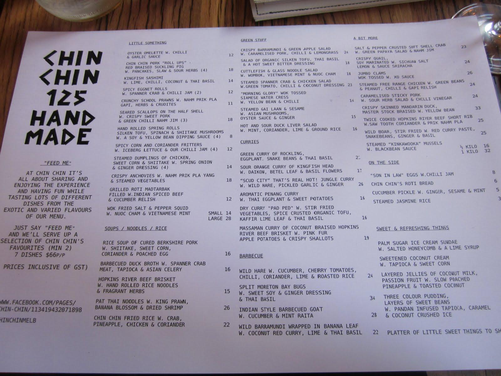 Chin Chin Restaurant Menu