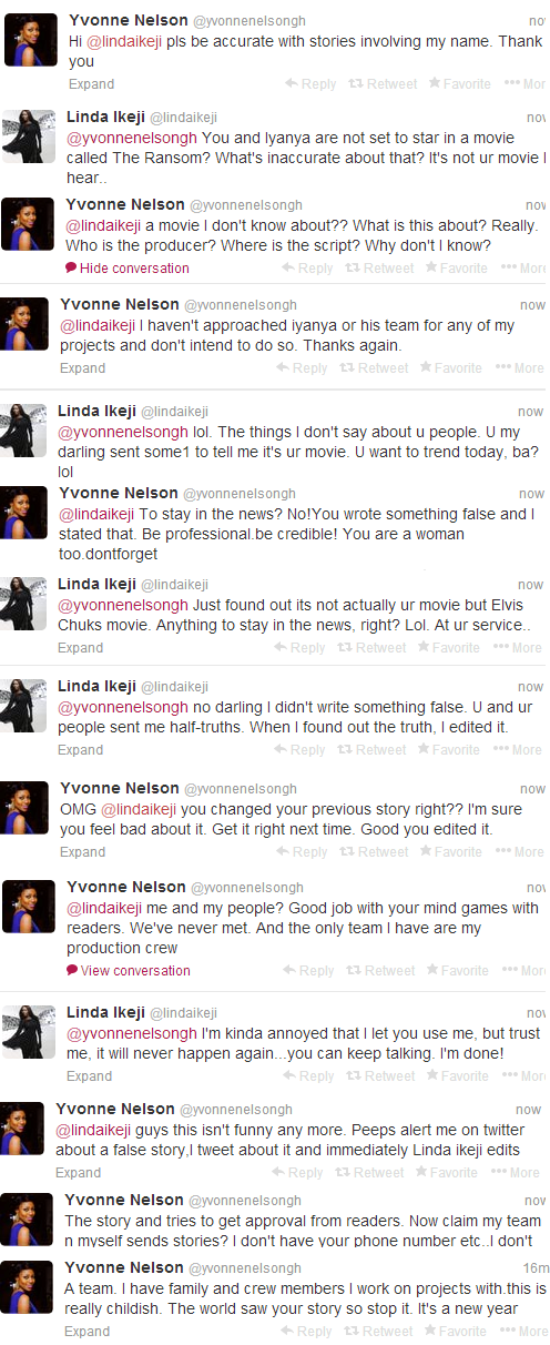Tweet Fight-Between Yvonne Nelson & Linda Ikeji