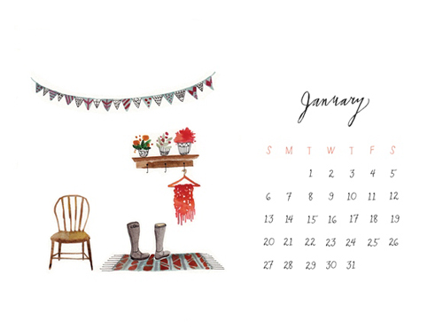 January 2013 January 2013 Calendar and Illustrated Desktop Background Wallpapers