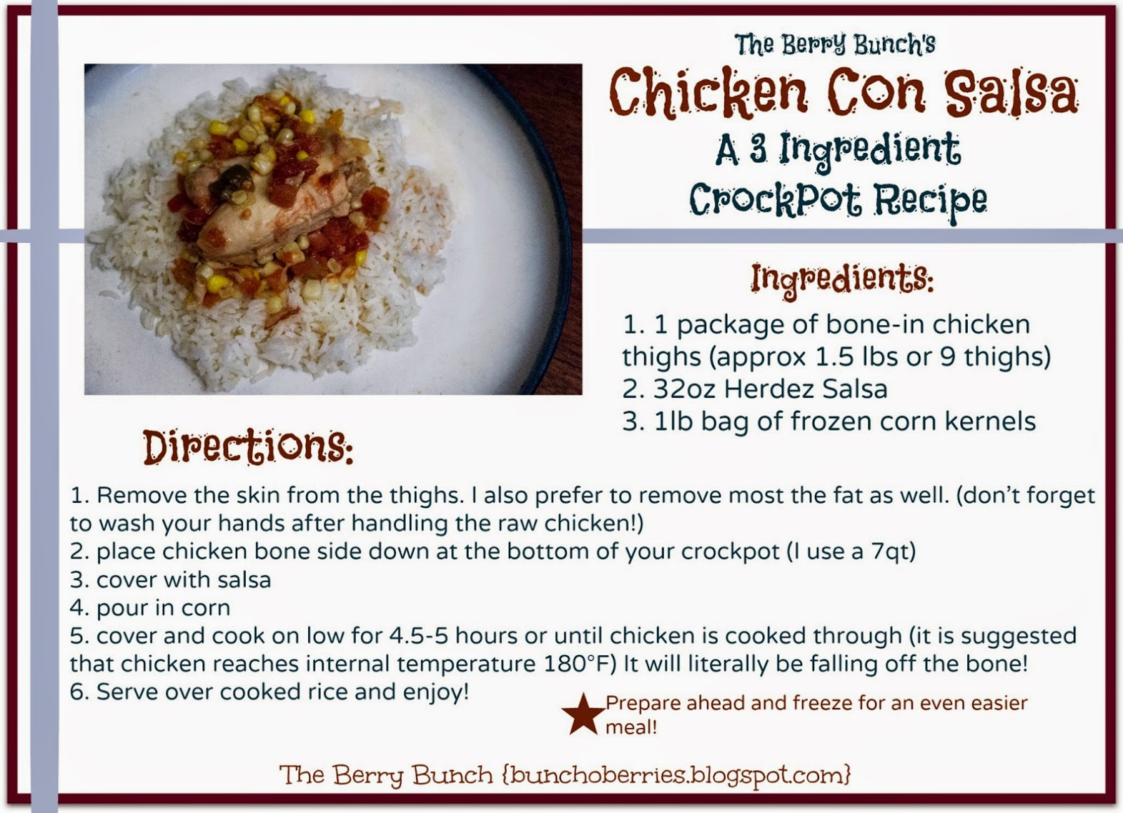 The Berry Bunch: Chicken Con Salsa printable 5x7 recipe card