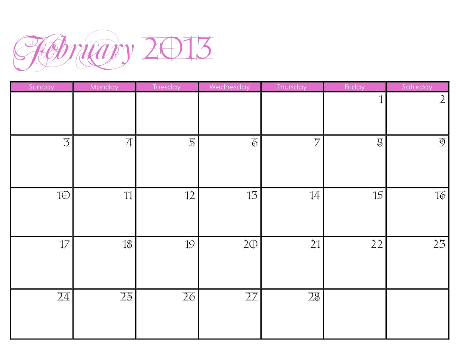 Being Home 2013 Calendar - Printable