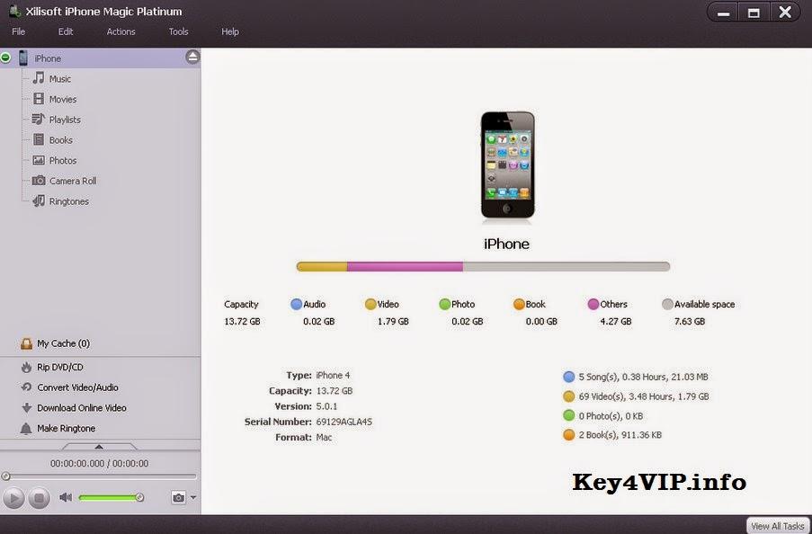 Xilisoft iPhone Magic Platinum 5.6.4 build 20140921 Full Key,Phần mềm quản lý dữ liệu iPhone hiệu quả