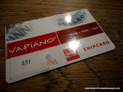 Chip card at Vapiano