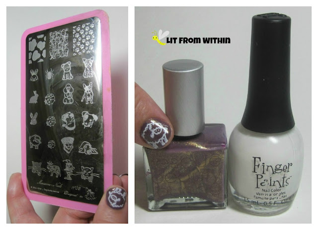 Here's a pix of the stamping plate, and the polishes I used: Marianne Nails No.6, Rescue Beauty Lounge Pretty Gritty, and Finger Paints Paper Mache.