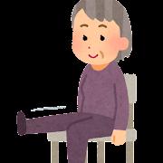 椅子に座って運動をする人のイラスト(おばあさん)