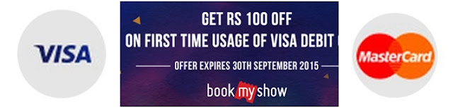 Get flat INR 100 off on purchase of movie tickets on BookMyShow with Visa Debit Cards bookmyshow bangalore offer,pvr cinemas offer,bookmyshow mumbai offer, bookmyshow  hyderabad, First - time Mastercard Debit Card users can avail INR 100 off on movie tickets.The customer needs to purchase minimum 2 movie tickets to avail the offer. bookmyshow chennai offer ,bookmyshow delhi offer ,bookmyshow coupons