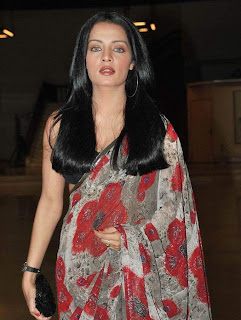 Celina Jaitley in redtransparent saree