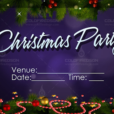Christmas Party Tarpaulin PSD Template Mockup