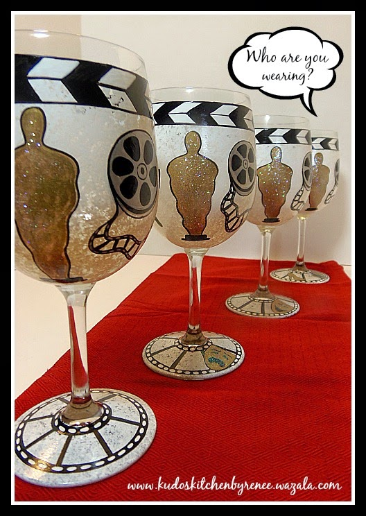 Academy Awards Painted Wine Glasses / www.kudoskitchenbyrenee.wazala.com
