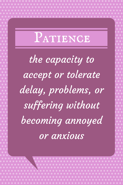 Patience - the capacity to accept or tolerate delay, problems, or suffering without becoming annoyed or anxious