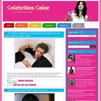Celebrities Color blogger template. template celebrity blogger