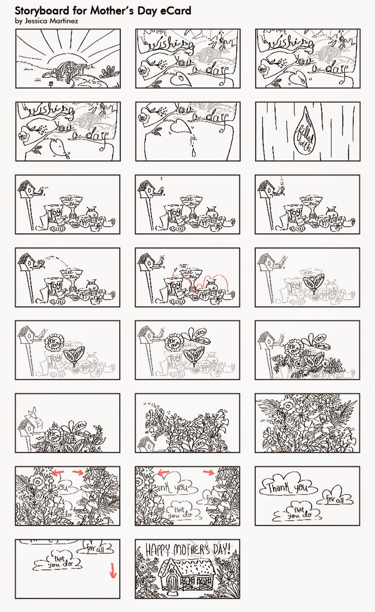 Storyboard for a Mother's Day eCard animation by Jeca Martinez
