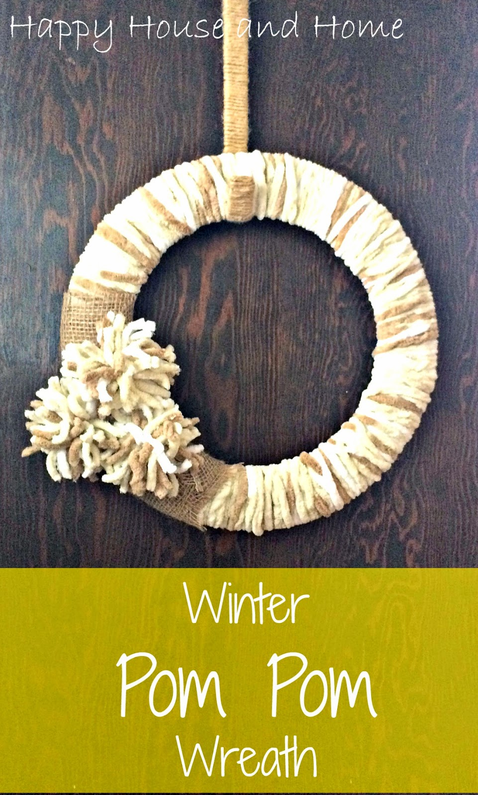 Winter wreath, Pom Pom Wreath, Pom Poms, Wreath