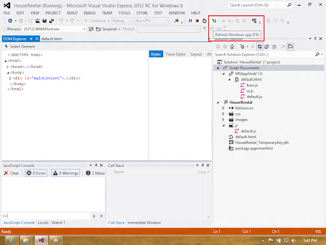 Visual Studio 2012 - Refresh Windows App Button
