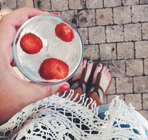 gezond, fruit, aardbeien, water