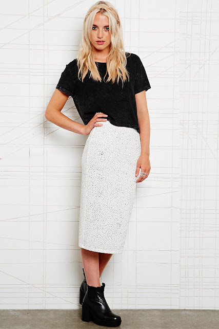 white midi glitter skirt