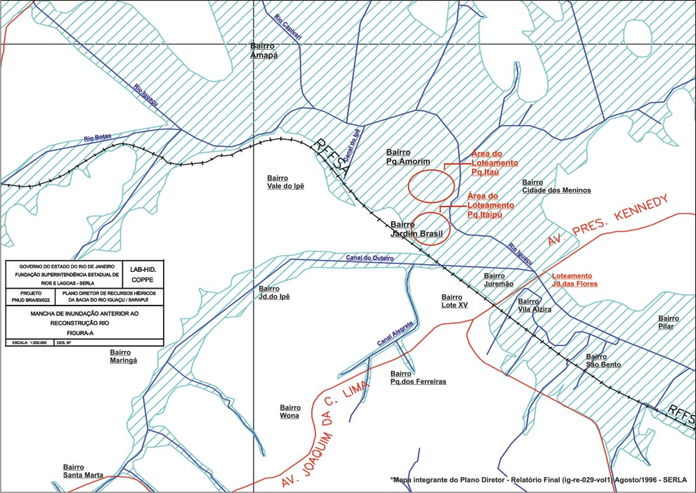 Mapa de mancha D'ÁGUA abrangência Bairro Lote xv, Pq.Amorim, Jd.Brasil, Ámapa, Pilar, Cid. Meninos