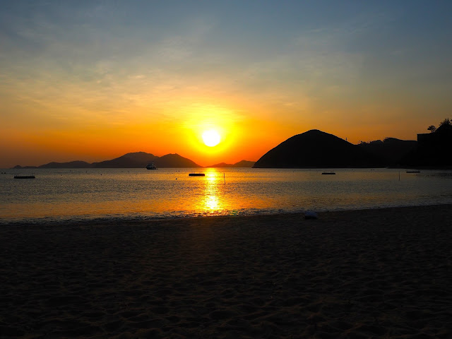 Sunset by the ocean on Repulse Bay Beach, Hong Kong