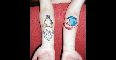 Linux, Gnu and Firefox Geek Tattoo