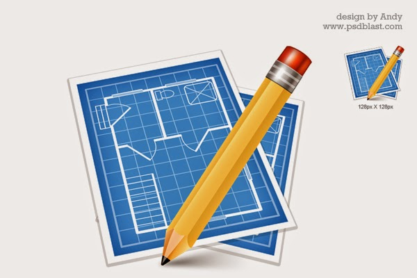 Architectural Blue Print Icon PSD