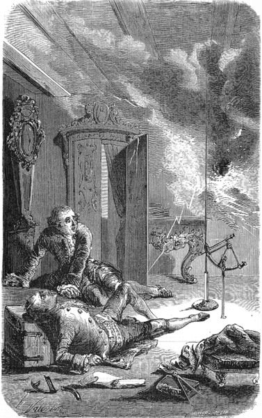 Death of Georg Wilhelm Richmann from Les Grand Inventions by Louis F Gueir, 1863