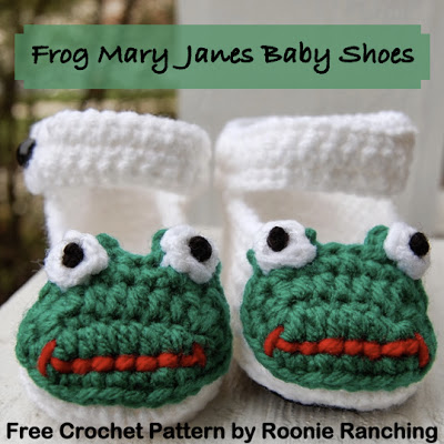 Free Crochet Patterns Baby Mary Jane Shoes : Roonie Ranching: Frog Mary Jane Baby Shoes (9-month-old ...