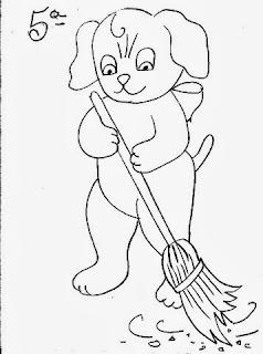 desenho cachorrinho varrendo o chão