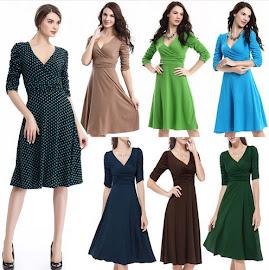 Sales:Unique Caterpillar Sleeve V-neck Past Knee Length Dress