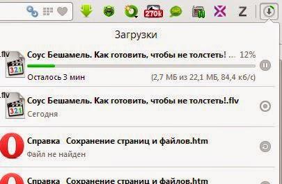 Управление файлами загрузки в Opera 20