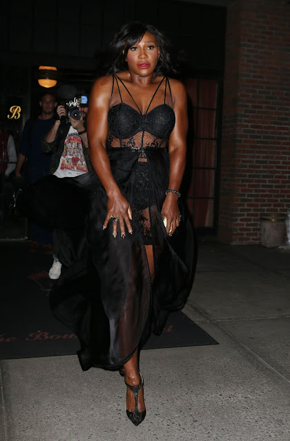 Tennis players, @ Serena Williams in Black Gown - Bowery Hotel in New York City
