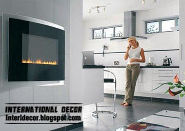 wall mounted fireplace in modern house interior, fireplace designs